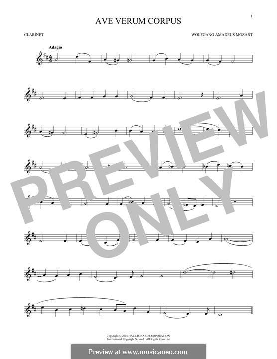 Ave verum corpus (Printabel Scores), K.618: For clarinet by Wolfgang Amadeus Mozart