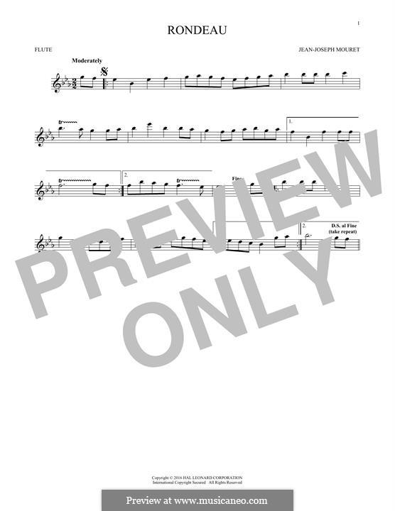 Fanfare Rondeau: Theme, for flute by Jean-Joseph Mouret