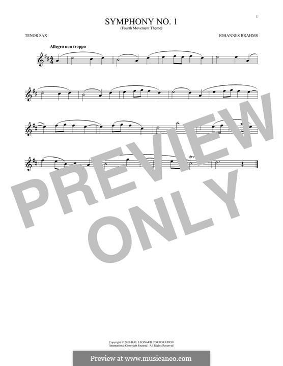 Movement IV: Excerpt. Version for tenor saxophone by Johannes Brahms