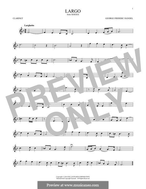 Largo: For clarinet by Georg Friedrich Händel