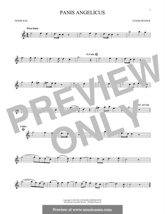 Panis Angelicus (O Lord Most Holy), Printable Scores: For tenor saxophone by César Franck