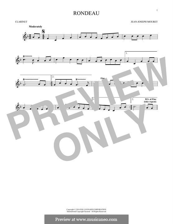Fanfare Rondeau: Theme, for clarinet by Jean-Joseph Mouret