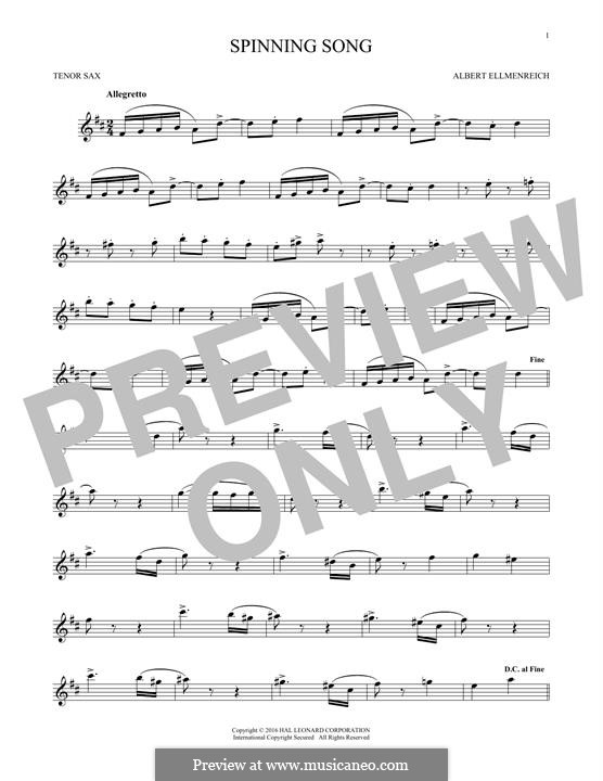 The Spinning Song: For tenor saxophone by Albert Ellmenreich