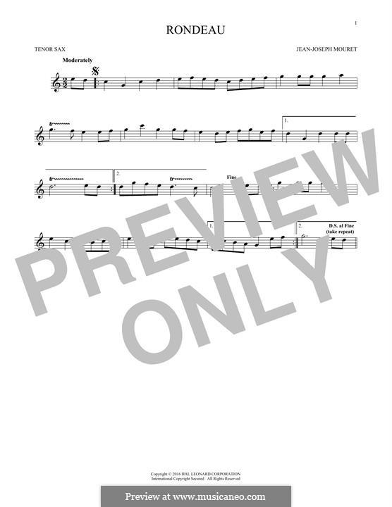 Fanfare Rondeau: Theme, for tenor saxophone by Jean-Joseph Mouret