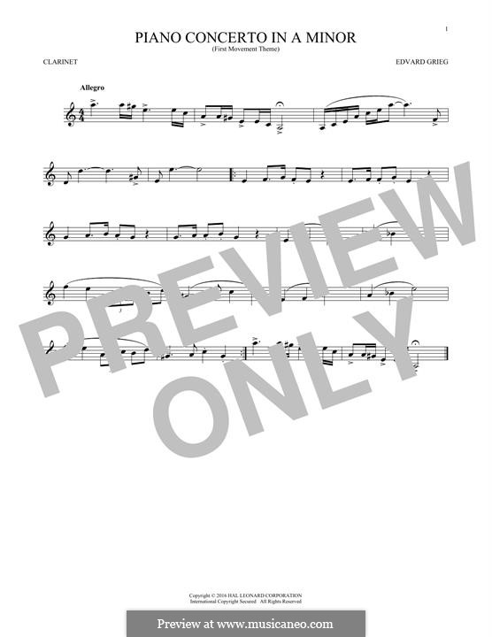 Piano Concerto in A Minor, Op.16: Movement I (Theme). Version for clarinet by Edvard Grieg