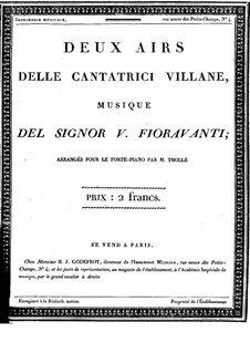 The Boorish Singers. Two Airs: Arrangement for voice and piano by Valentino Fioravanti