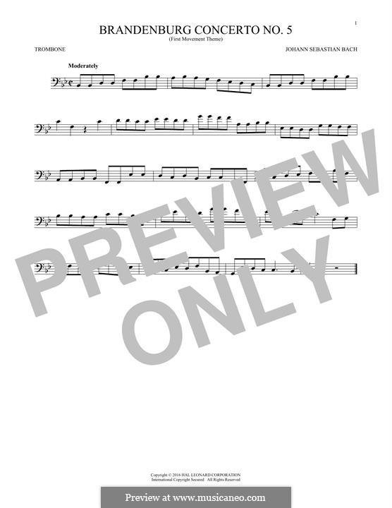 Brandenburg Concerto No.5 in D Major, BWV 1050: Movement I (Theme), for trombone by Johann Sebastian Bach