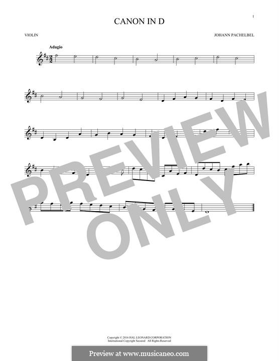 Canon in D Major (Printable): For violin by Johann Pachelbel