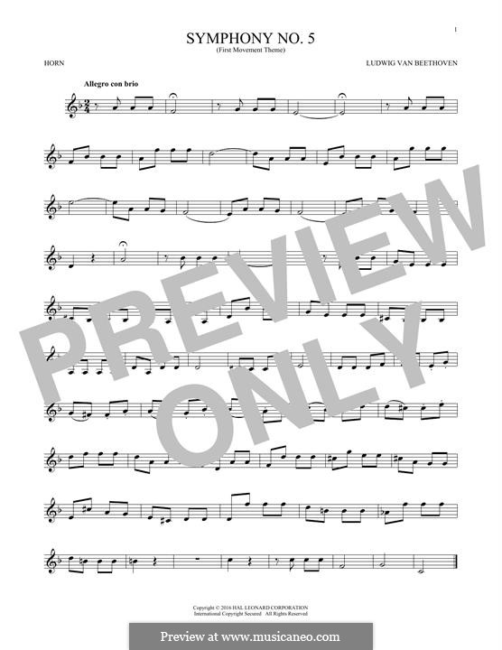Movement I: Excerpt, for horn by Ludwig van Beethoven