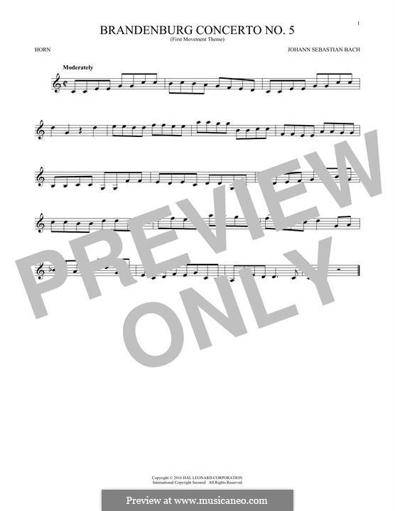 Brandenburg Concerto No.5 in D Major, BWV 1050: Movement I (Theme), for horn by Johann Sebastian Bach