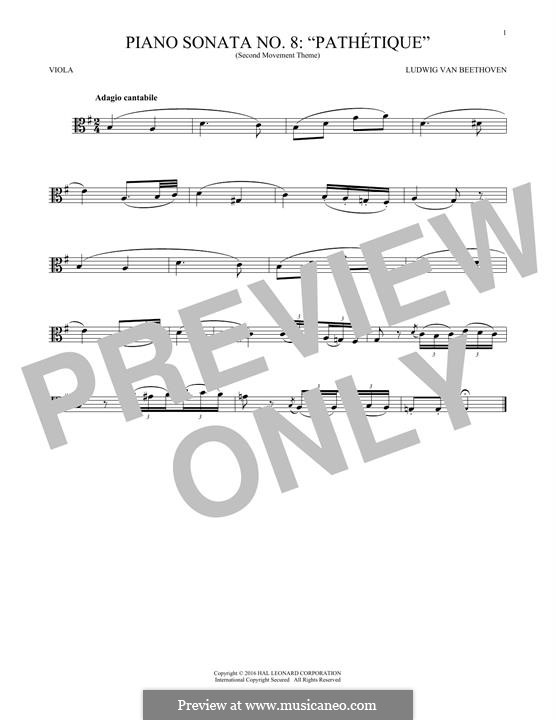 Movement II: Theme. Version for viola by Ludwig van Beethoven