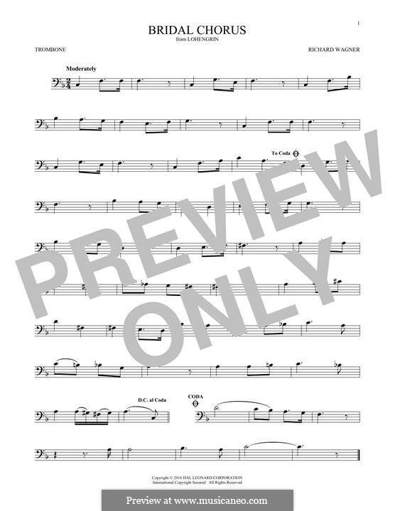 Bridal Chorus: For trombone by Richard Wagner