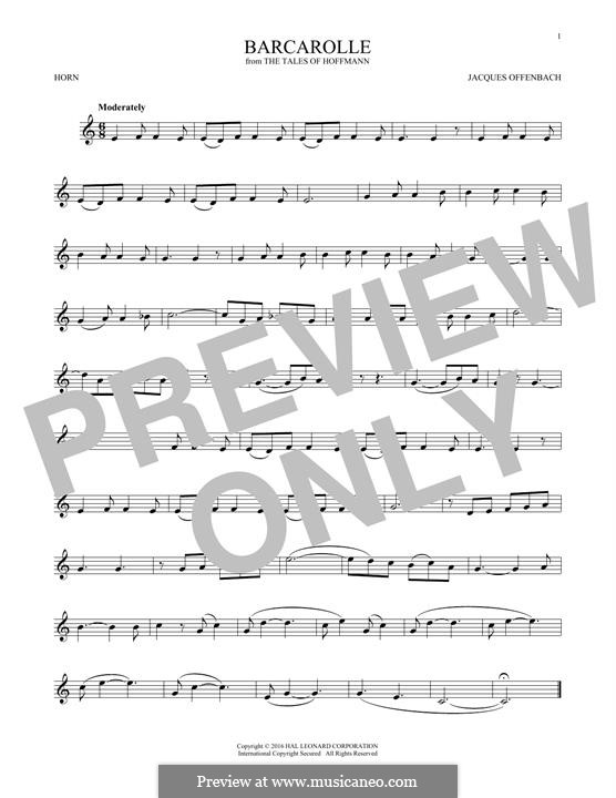 Barcarole: Version for horn by Jacques Offenbach