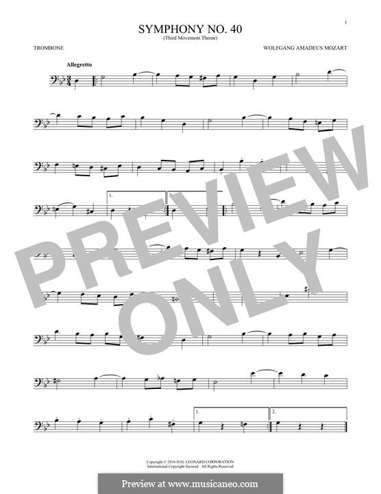 Movement III: Theme, for trombone by Wolfgang Amadeus Mozart