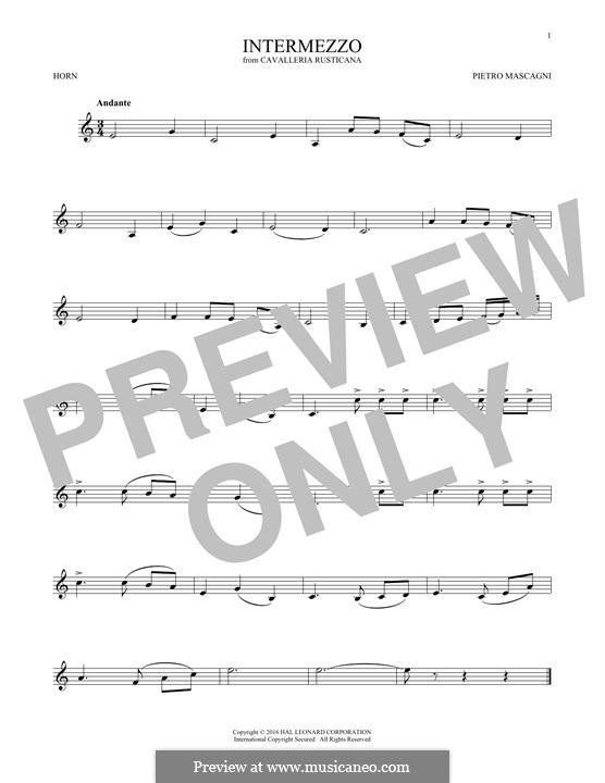 Cavaleria rusticana: Intermezzo, for horn by Pietro Mascagni