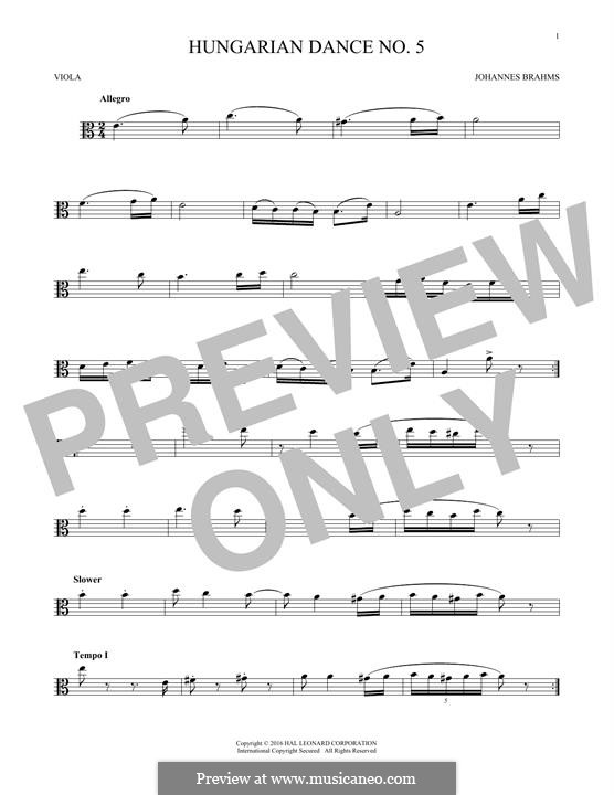 Dance No.5 in F Sharp Minor (Printable scores): For viola by Johannes Brahms