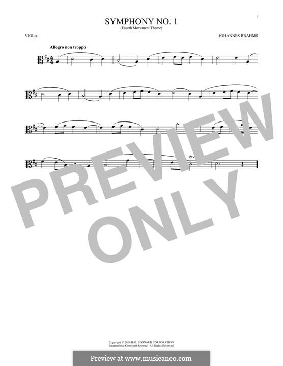Movement IV: Excerpt. Version for viola by Johannes Brahms