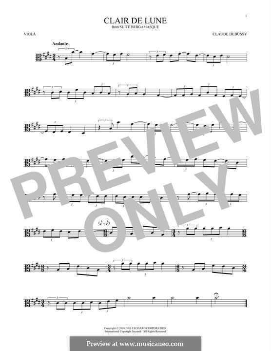 No.3 Clair de lune: For viola by Claude Debussy