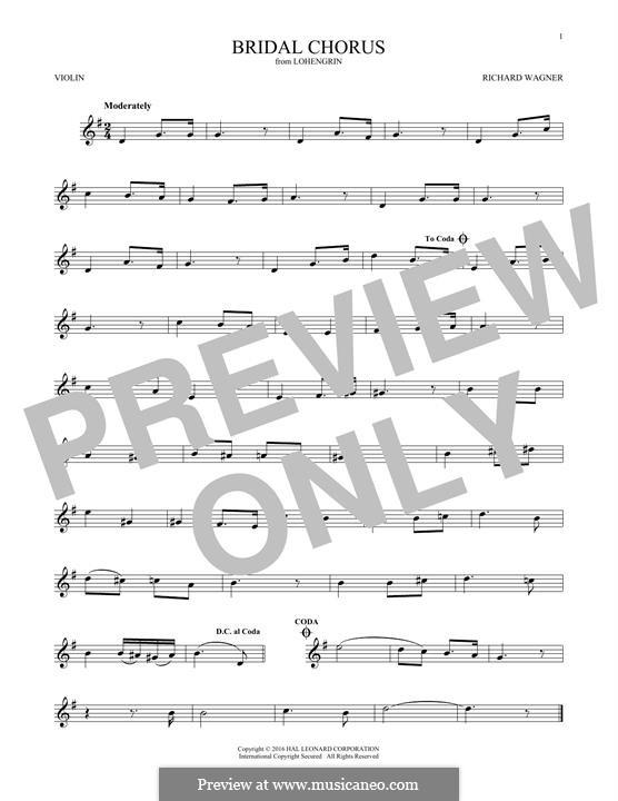 Bridal Chorus: For violin by Richard Wagner