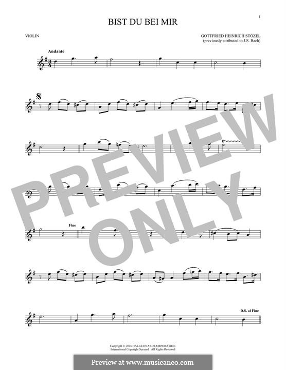 No.25 Bist du bei mir (You Are with Me), Printable scores: For violin by Johann Sebastian Bach
