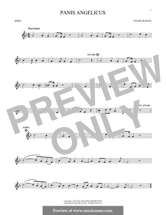 Panis Angelicus (O Lord Most Holy), Printable Scores: For horn by César Franck