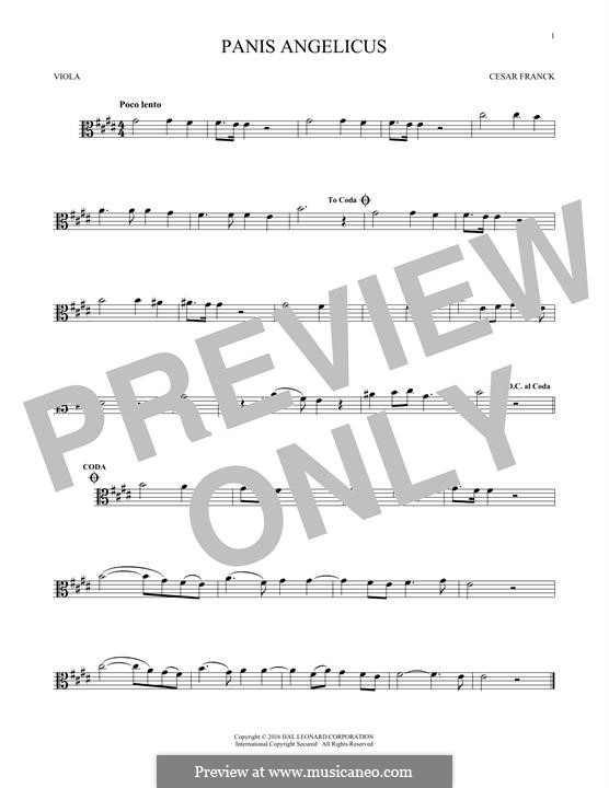 Panis Angelicus (O Lord Most Holy), Printable Scores: For viola by César Franck