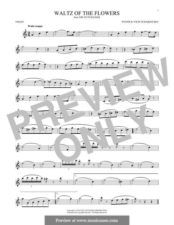 No.8 Waltz of the Flowers: For violin by Pyotr Tchaikovsky