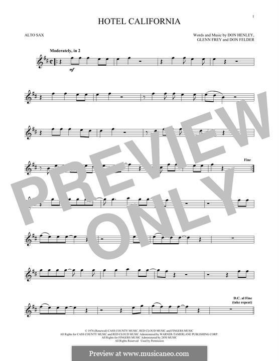 Hotel California (The Eagles): For alto saxophone by Don Felder, Don Henley, Glen Frey