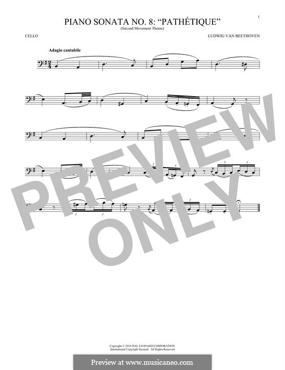 Movement II: Theme. Version for cello by Ludwig van Beethoven