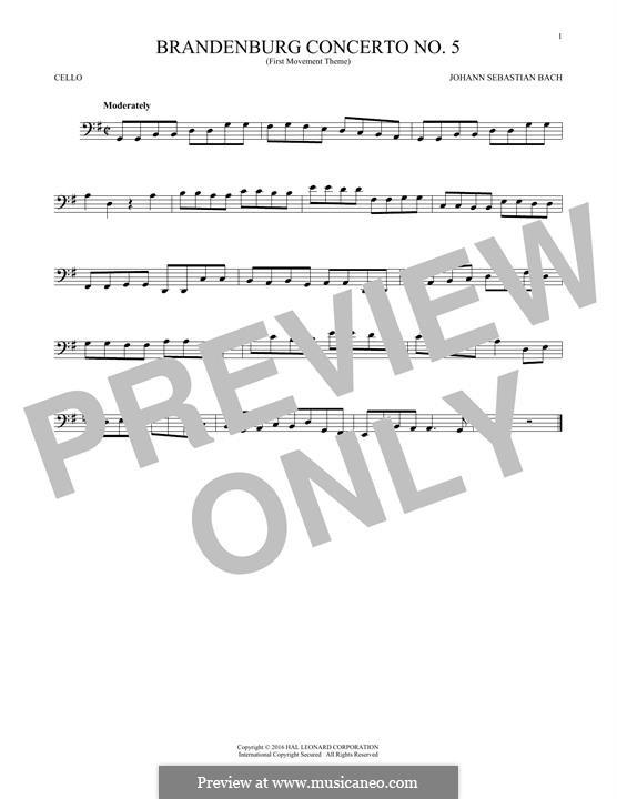 Brandenburg Concerto No.5 in D Major, BWV 1050: Movement I (Theme), for cello by Johann Sebastian Bach