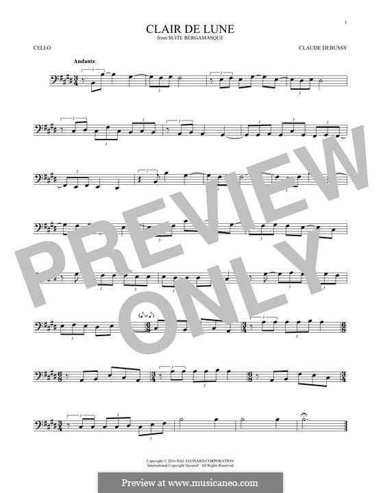 No.3 Clair de lune: For cello by Claude Debussy