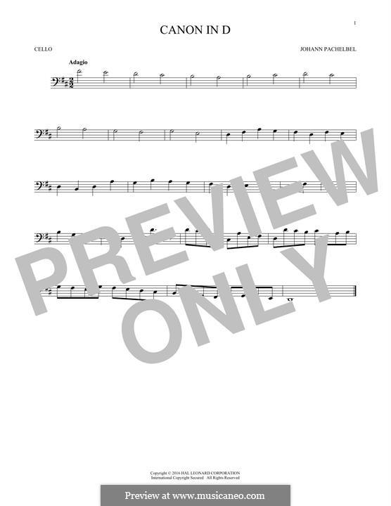 Canon in D Major (Printable): For cello by Johann Pachelbel
