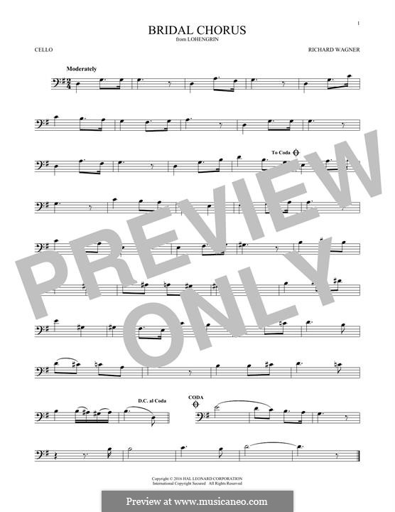 Bridal Chorus: For cello by Richard Wagner
