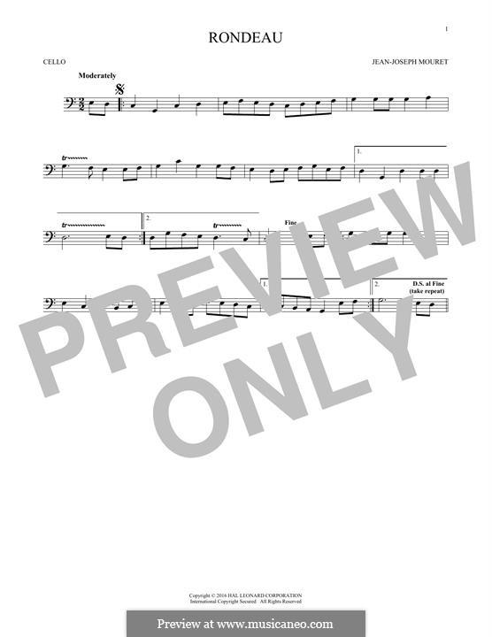 Fanfare Rondeau: Theme, for cello by Jean-Joseph Mouret