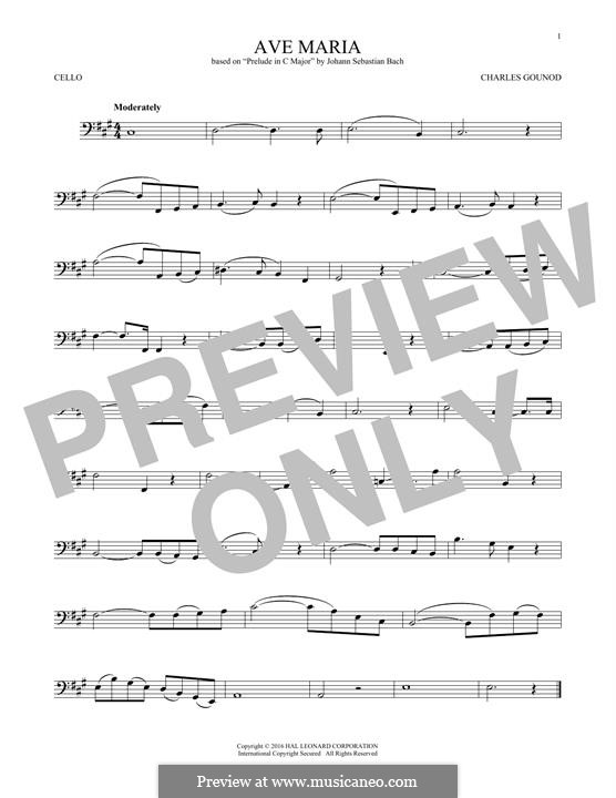Ave Maria (Printable Sheet Music): For cello by Johann Sebastian Bach, Charles Gounod