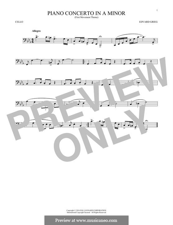 Piano Concerto in A Minor, Op.16: Movement I (Theme). Version for cello by Edvard Grieg