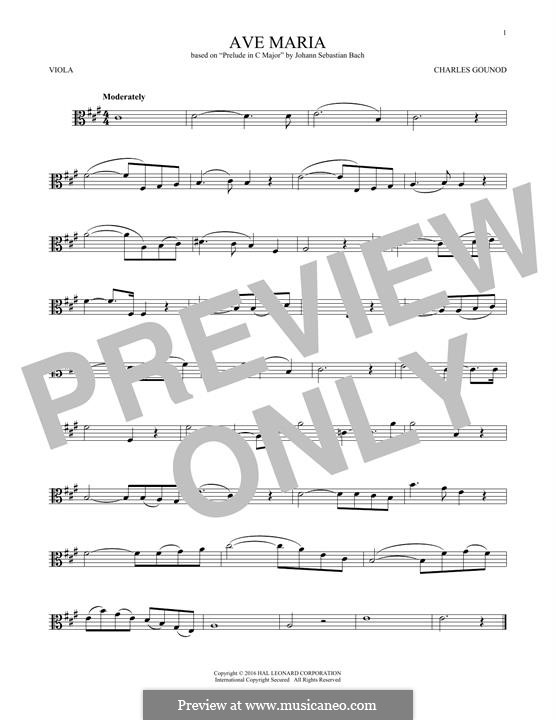 Ave Maria (Printable Sheet Music): For viola by Johann Sebastian Bach, Charles Gounod