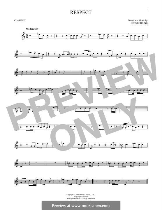 Respect (Aretha Franklin): For clarinet by Otis Redding