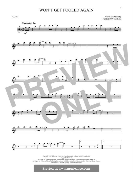 Won't Get Fooled Again (The Who): For flute by Peter Townshend