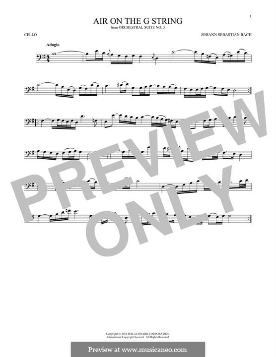Aria (Printable Scores): Version for cello by Johann Sebastian Bach