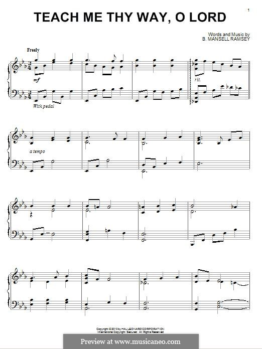 Teach Me Thy Way, O Lord: For piano by Benjamin M. Ramsey