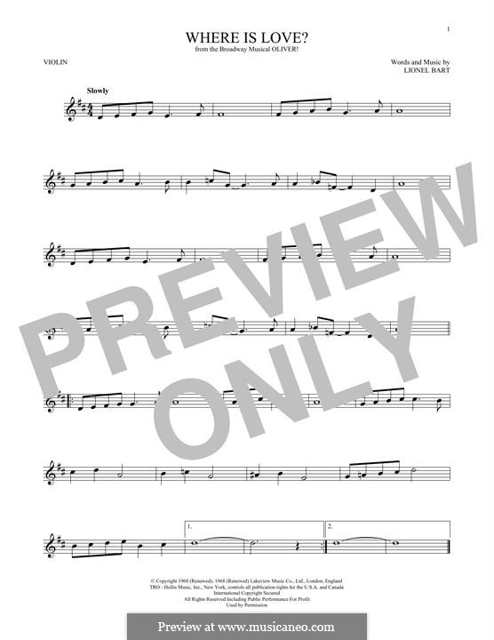 Where Is Love?: For violin by Lionel Bart