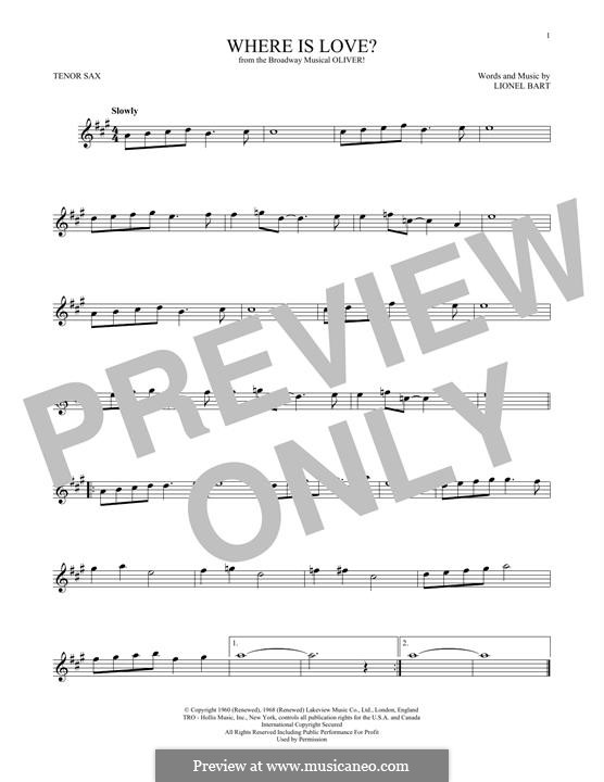 Where Is Love?: For tenor saxophone by Lionel Bart