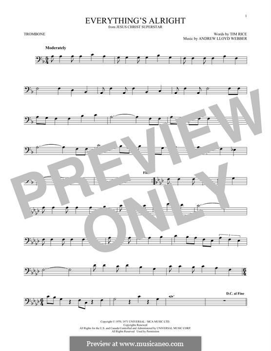 Everything's Alright: For trombone by Andrew Lloyd Webber