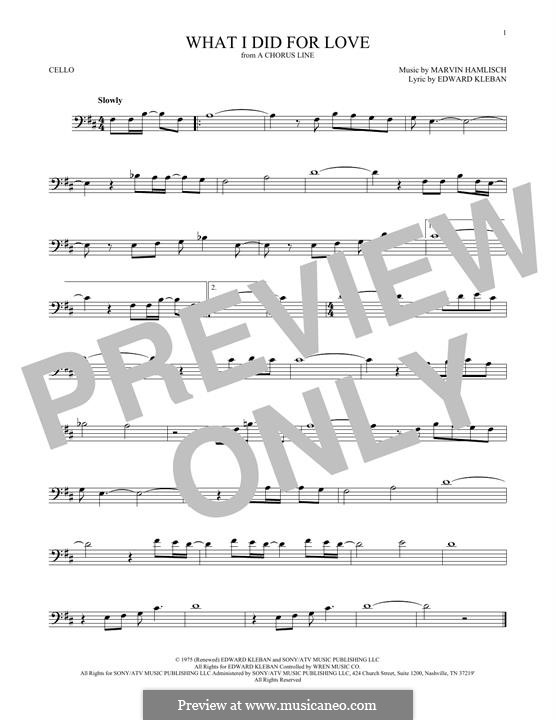 What I Did for Love (Priscilla Lopez): For cello by Marvin Hamlisch