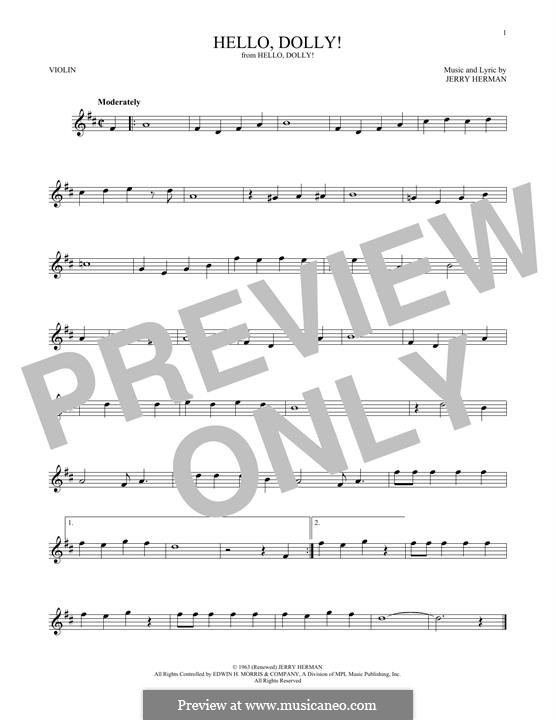Hello Dolly (Louis Armstrong): For violin by Jerry Herman