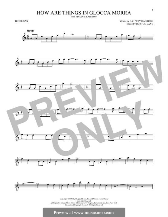 How are Things in Glocca Morra: For tenor saxophone by Burton Lane