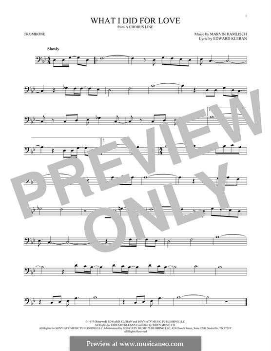 What I Did for Love (Priscilla Lopez): For trombone by Marvin Hamlisch