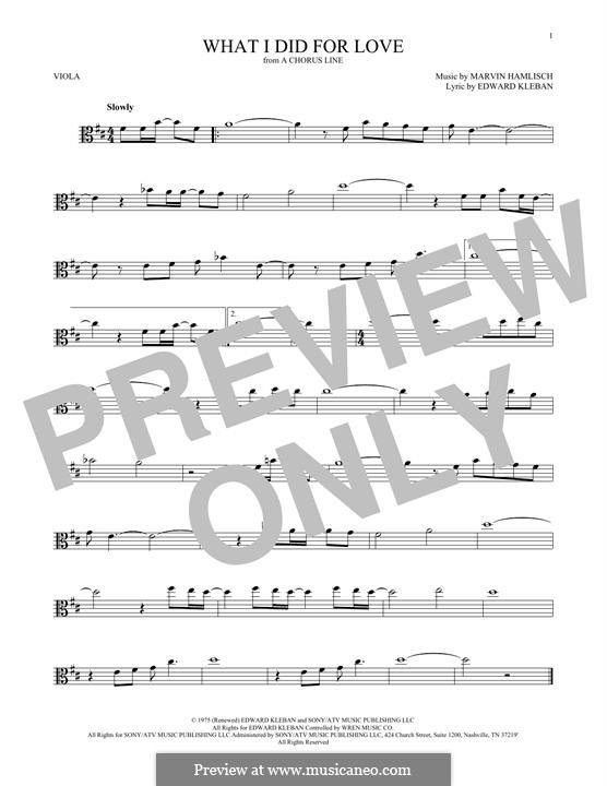What I Did for Love (Priscilla Lopez): For viola by Marvin Hamlisch