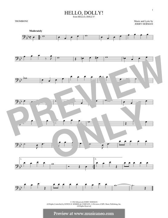 Hello Dolly (Louis Armstrong): For trombone by Jerry Herman